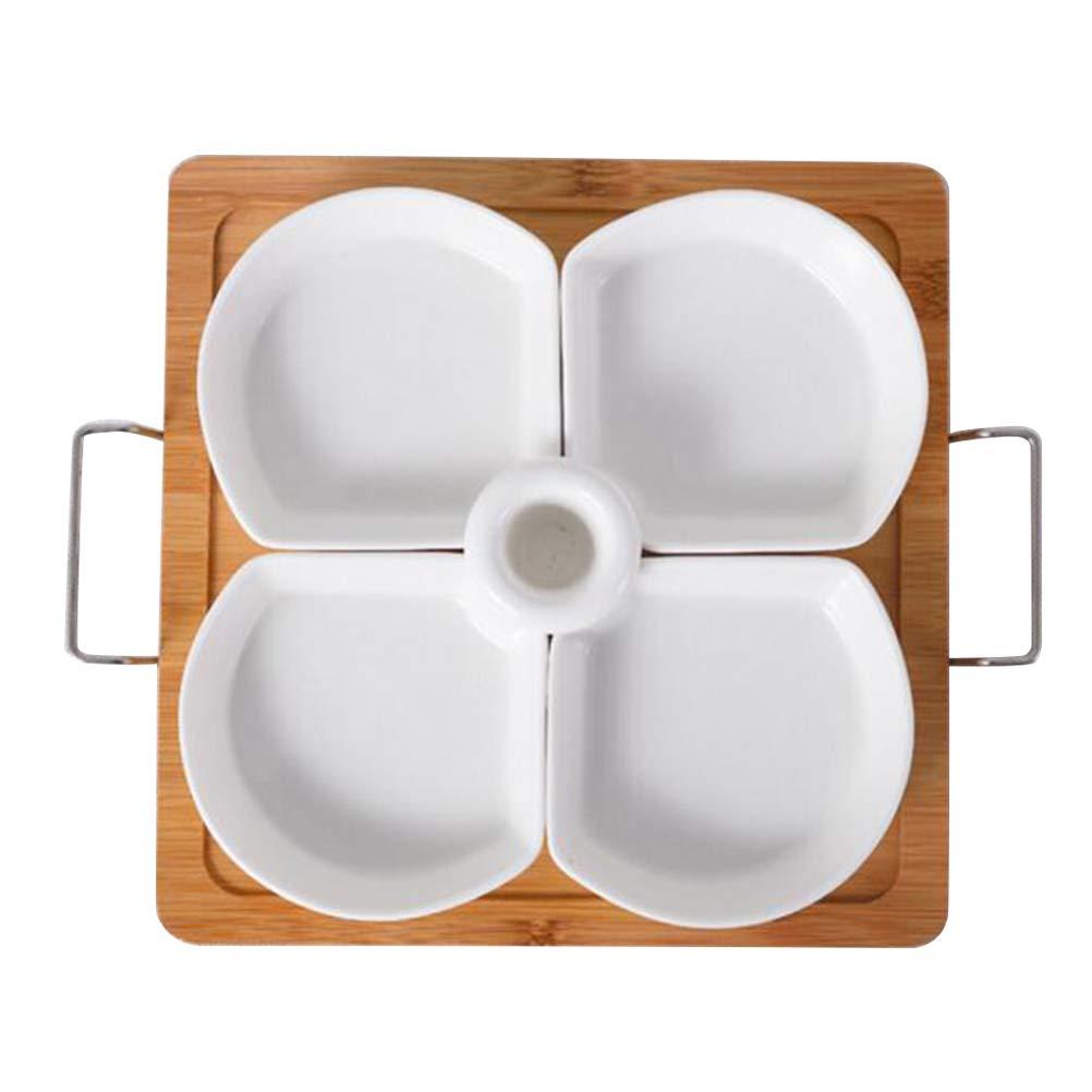 BESTONZON 4分割セラミック食器ラックセット/前菜サービングトレイ/キャンディサービングボウル つまようじホルダーと竹トレイ付き (14.8 x 13.6 x 4.2 cm) B07KR7M5LW