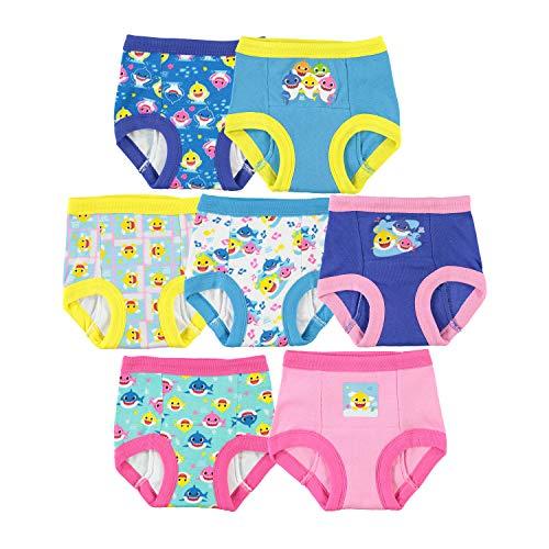 Baby Shark Girls' Toddler, 7pk Potty Training Pant, 4T
