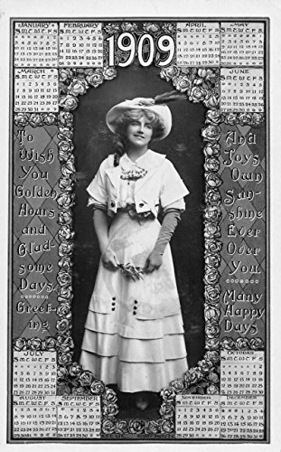 1909 Calendar Greeting Year Woman Beauty Antique Postcard K37145