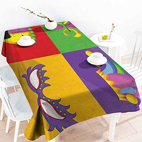 EwaskyOnline Spill-Proof Table Cover,Mardi Gras Colorful Frames with Mardi Gras Icons Masks Harlequin Hat and Fleur De Lis Print,High-end Durable Creative Home,W52x70L, Multicolor ()