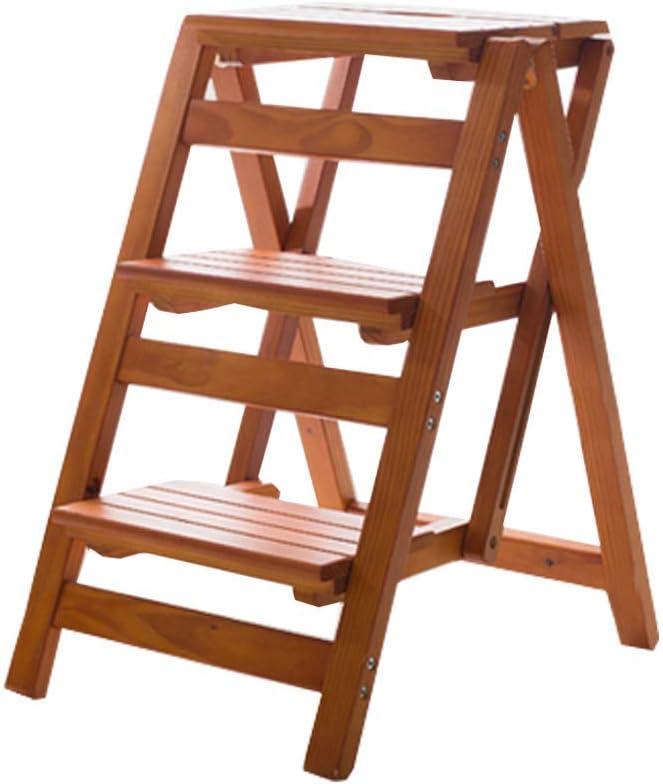 AYLS Haushaltsleiter Faltscheren Thickening Stuhl Stuhlbau in der Multi-Funktion Kletternladder DREI Stockwerke,woodcolor