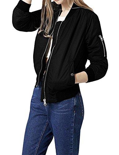mujeres manga la para JDS de Fortuning's 1 la la larga Negro de vendimia las la de moda chaqueta largo de bombardero Abrigo del qvwAR