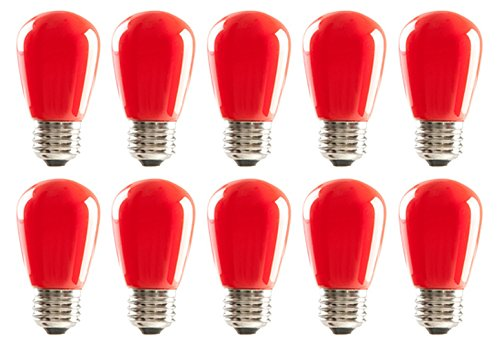 10 Qty. HALCO S14RED1C/LED 80517 LED S14 1.4W RED DIMMABLE E26 ProLED by Halco
