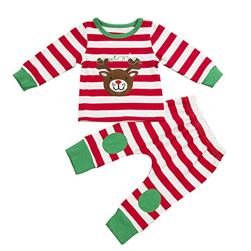 Puseky Baby Boys Girls Christmas Reindeer Stripe T-shirt+Pant Outfit Pajamas Set (0-6 Months, Red)