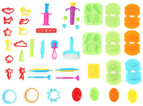 Dinosaur Clay - Ludos Clay Dough Play Tools & Dinosaur Set- 37 Pcs Molds Kit Party Pack Includes Animals, Cutters, Food & Fruit Molds, Extruders, Rolling Pins and Assorted Shapes for Toddlers, Kids, Girls & Boys
