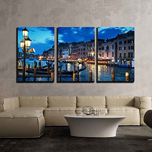 wall26 - 3 Piece Canvas Wall Art - Grand Canal in Sunset Time, Venice, Italy - Modern Home Decor Stretched and Framed Ready to Hang - 16