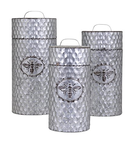 Trisha Yearwood Home Collection 10454-3 Honey Bee Galvanized Canisters (Set of 3)