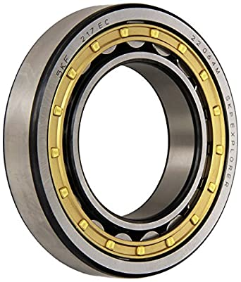 SKF Cylindrical Roller Bearing, Single Row, Removable Inner Ring, Straight Bore, High Capacity, Normal Clearance, Brass Cage, Metric