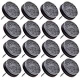 Chair Glides for Tile Floors 16pcs - Medium Espresso Color - Heavy Duty Nail On Felt Pads Slider Glide Pads for Chairs, Table, Stools, Drawer, Wardrobe - Hard Wood, Tile Floor Protector