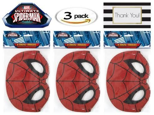 Spiderman Party Mask, 8 ct (Three -