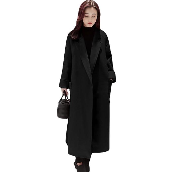 YAANCUN Mujer Estilo Coreano Longitud De La Rodilla Abrigo De Invierno Lana Clásico De Gran Tamaño: Amazon.es: Ropa y accesorios