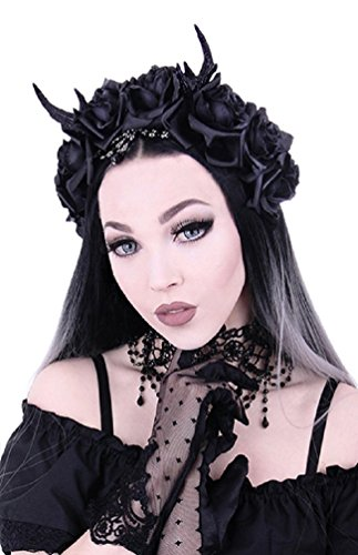 [Restyle Gothic Princess Hair Garland Nu Goth Roses Antlers Headband - Black (One-Size)] (Goth Dress)