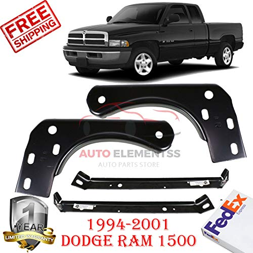 Front Bumper Inner & Outer Mounting Bracket for 1994-2001 Dodge Ram 1500 3500 Left Hand Side & Right Hand Side W/o Sport Pkg Direct Replacement Set of 4 CH1067111 CH1066111 CH1067108 CH1066108 ()