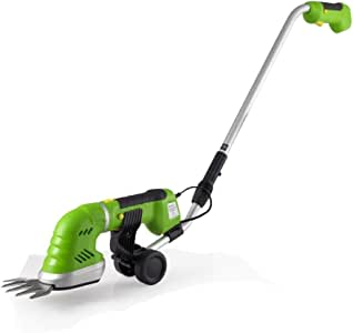 SereneLife Handheld Hedge Cordless Trimmer - Push Grass Cutter Shears W/ 7.2V Rechargeable Batteries , Telescoping Roller Handle Arm Changeable Blades
