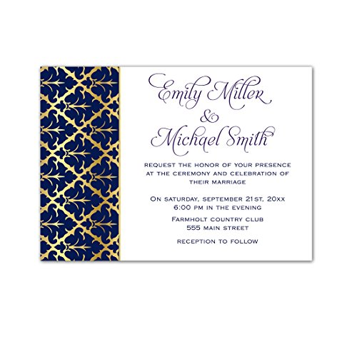 100 Wedding Invitations Gold Navy Blue Damask Design + Envelopes (White Invitations Kit Damask)