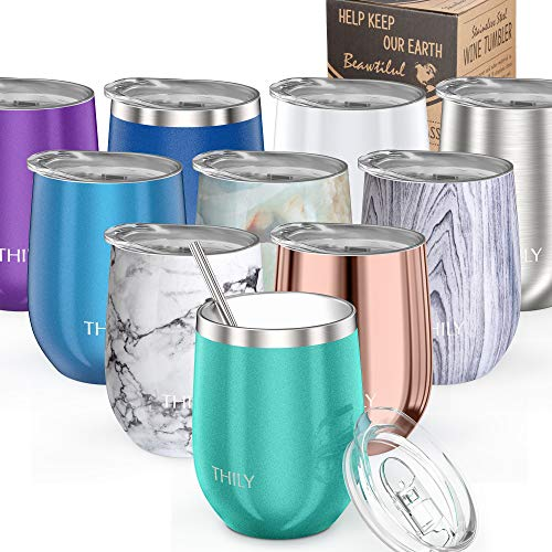 Stainless Steel Stemless Wine Glass - THILY T1 Triple Vacuum Insulated Travel Wine Tumbler Cup with Lid and Reusable Straw, 12 oz, Keep Drinks Cold or Hot, Cute Gift for Christmas, Birthday, Teal -