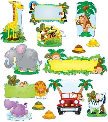 Amazon Com Carson Dellosa Jungle Safari Bulletin Board Set 110152 Theme Classroom Office Products