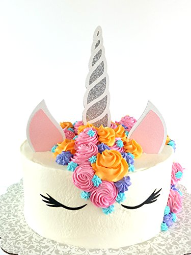 CMS Design Studio Handmade Unicorn Birthday Cake Topper Decoration - Made in USA with Double Sided Silver Pink Black White Glitter StockCake not Included (Silver) from CMS Design Studio
