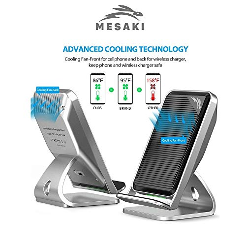 Fast Wireless Charger, 2-Coil Qi Stand with Cooling Fan for iPhone X, iPhone 8/8 Plus, Fast Charging for Galaxy Note 8/5, S9/S9 Plus, S8/S8 Plus, S7, S7 Edge/S6 Edge Plus (No AC Adapter)