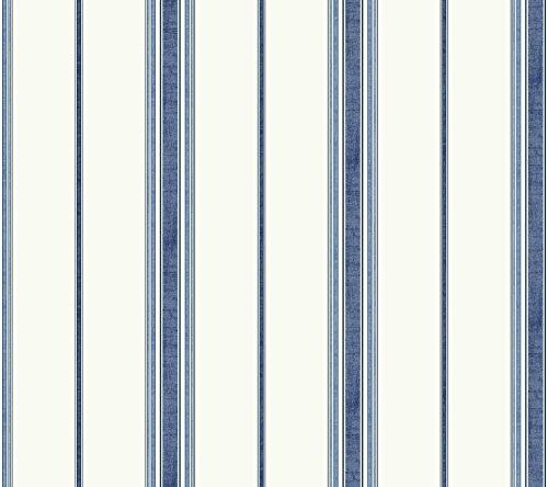 York Wallcoverings Waverly Kids Incense Stripe Removable Wallpaper, White/Navy/Dark Blue/Mediu Blue