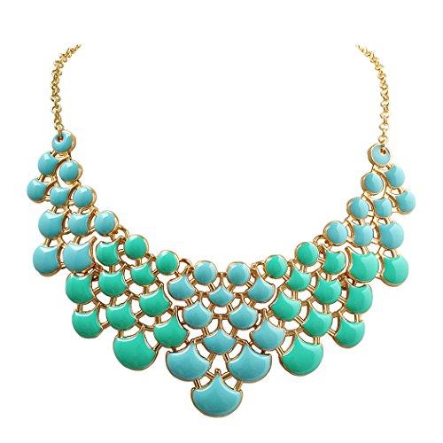 Statement Necklace (Jane Stone Fan Statement Fashion Resin Frontal Bib Clothing Mint&Turquoise Necklace Popular Jewelry(Fn0968-Mint&Turquoise1))