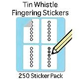 Tin Whistle, Basuri & Native American Flute Fingering Sticker Set (250 Per Pack) Super handy for students and teachers!