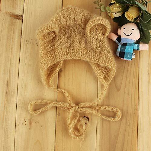 Infant Newborn Soft Mohair Animal Bear Ear Beanie Cap Cute Hat Photography Prop (Color : Camel)