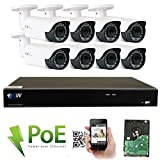 GW Security 8 Channel 4K NVR HD 1920P H.265 IP PoE Security Camera System with 8 Outdoor /Indoor 2.8-12mm Varifocal Zoom 5.0 Megapixel 1920P Cameras, QR Code Easy Setup, Free Remote View