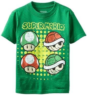 Nintendo Little Boys' Mushroom and Shell Short Sleeve Tee, Kelly Green, 7