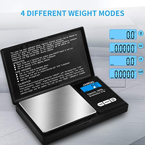 Digital Scale Pocket Weight Scale, G/OZ/CT/OZT Quick Conversion, LCD Back-Lit Display, High Precision Gram Scale for Kitchen Food, Medicine, Weed, Jewelry and Powder (1000g/0.1g)