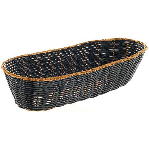 Black and Gold Washable Oblong Wicker Bread Basket 11