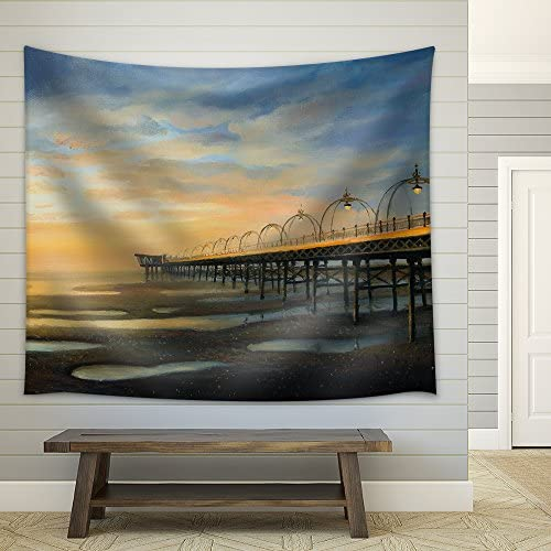 an Oil Painting of One of The Strongest Outflows in The History of Southport in The United Kingdom Fabric Wall