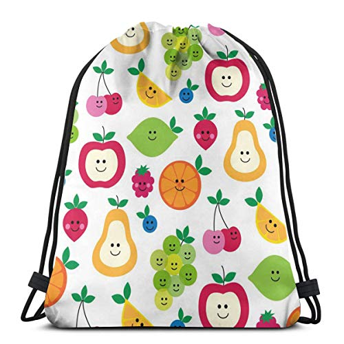 Smiley Fruit Apple Orange Strawberry Cherry Customized Sports Pumping Rope Bag Is Suitable For Men And Women Outdoor Travel ()
