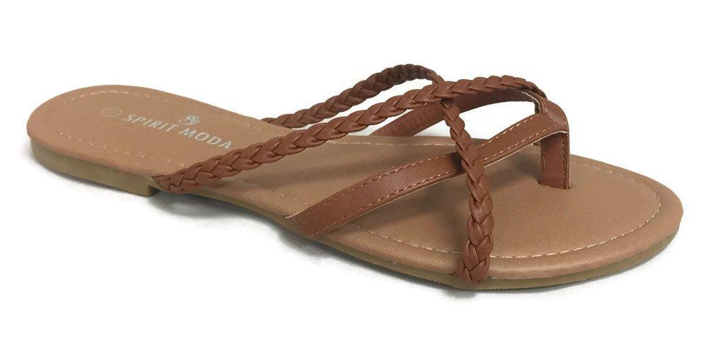 Girls Club Alva Strappy Flip Flops Summer Sandal Criss Cross Double Straps, Tan Braided, 6