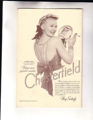 Marion Hutton Singer Chesterfield Cigarette Advertisement NYC Town Hall Program - Chesterfield Town