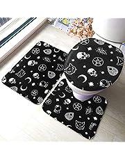 Skull Cat Moon Gothic Pattern Bathroom Mat Sets 3 Piece Set Rugs Memory Foam Mat Set Matches Anti-Skid Toilet Seat Cover Bath Mat Lid Cover