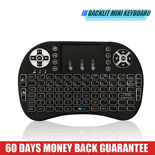 Backlit Remote i8 2.4GHz Portable Mini Wireless Qwerty Keyboard with Multi Touch Touchpad Rechargable Li-ion Battery, Soft Silicone button for 4k Smart HD TV Google Android TV Box