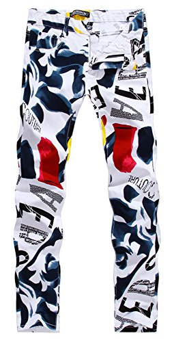 Allonly Men's Fashion Casual Slim Fit Straight Leg Painted Letters Printed Jeans Pants (Best Paint For Newspaper)