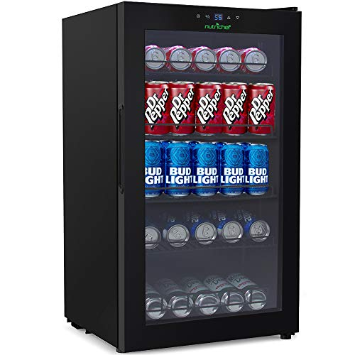 132-Can Canned Beverage Mini Fridge - 18.69 Gallon Freestanding/Kitchen Countertop Black Electric Beverage Center Cooler Soda Beer Refrigerator w/Built-in Fan, Clear Glass Door - NutriChef PKTEBC80