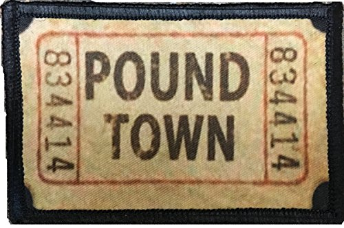 "Ticket to Pound Town Morale Patch. Perfect for your Tactical Military Army Gear, Backpack, Operator Baseball Cap, Plate Carrier or Vest. 2x3"" Hook Patch. Made in the USA"