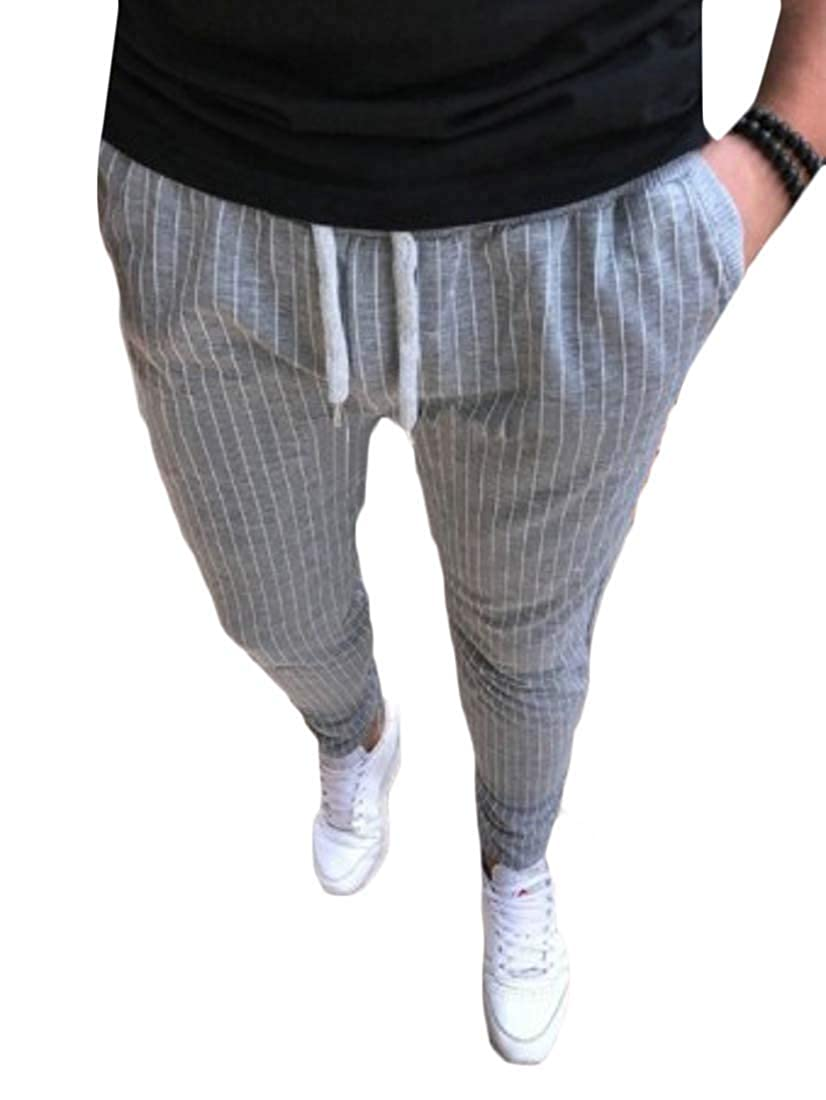 pipigo Mens Slim Stripe High Waist Drawstring Casual Pants Trousers Grey 2XL