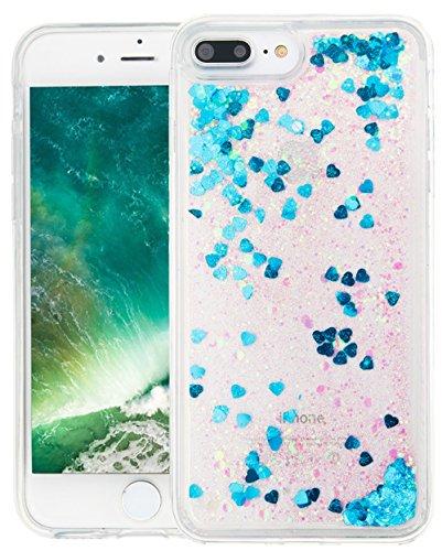 Nnopbeclik Silikon Transparent Hülle Für Apple Iphone 7 Plus, Durchsichtig Ultra Slim Weich TPU Cover Case Creative Flüssiger Sequins Diamant 3D Bling Bling Blume Case Etui, Schutzhülle Muster Glänzen