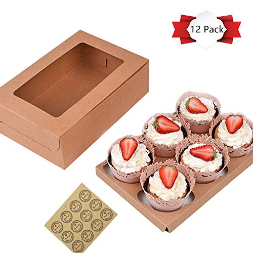 12 Pack Kraft Paper Cupcake Boxes, Gift Boxes with Stickers and Clear Window, Cupcake Containers Carriers Bakery Cake Box with Insert, 6 Cavity, Set of 12 Brown ()