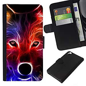 KingStore / Leather Etui en cuir / HTC Desire 820 / Lobo neón Colores Retrato Hocico Hocico