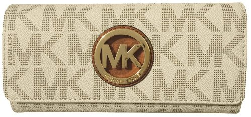 Michael Kors Signature PVC Fulton Flap Wallet (Vanilla) by Michael Kors