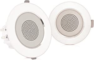 "Pyle Pair 3.5"" Flush Mount In-wall In-ceiling 2-Way Home Speaker System Aluminum Housing Spring Loaded Clips Dual Polypropylene Cone Polymer Tweeter Stereo Sound 140 Watts (PDIC35)"