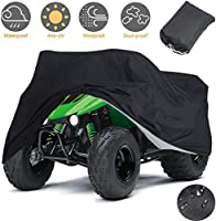Indeedbuy Waterproof ATV Cover,Large Heavy Duty Black Protects 4 Wheeler From Snow Rain or Sun