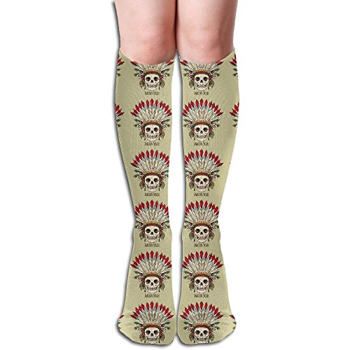 Indian Skulls Chief Below The Knee High Socks Sports Athletic Casual Tube