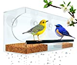 Image of Flock To Me Clear Bird Feeder With Lifetime Replacement Guarantee. Self-Draining and Easy to Clean with Removable Tray. Entertaining Bird Watching From Inside Your Home