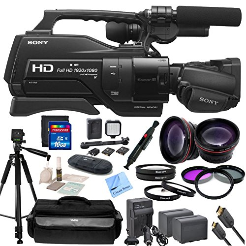 Sony HXR-MC2500 Shoulder Mount AVCHD Camcorder With CS Premium Kit: Includes 72'' Professional Tripod, Weather Proof Case, HD Wide Angle Lens, Telephoto HD Lens, 3 Piece Filter Kit, 4 Piece Macro Close-Up Set, Transcend 16GB SDHC Memory Card, SD Card Reade by Sony